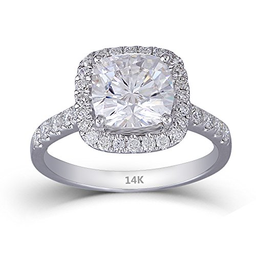 DovEggs 14K White Gold Center 2ct 7.5mm H Color Cushion Cut Moissanite Halo Engagement Ring with Accents (8)