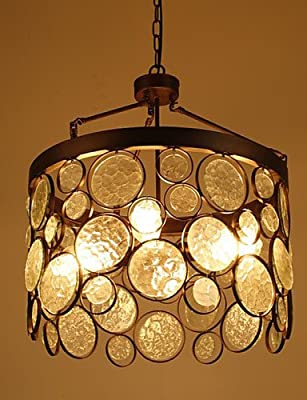 qiuxi High-end fashion Interior Ceiling lamp Vintage Iron Glass Chandelier , warm white-110-120v