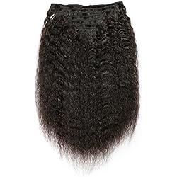 KeLang Hair Kinky Straight Clip In Human Hair Extensions Clip Ins Human Hair 7A Italian Coarse Yaki Brazilian Virgin Hair Clip In Extension 18inch 8pcs/lot,120gram/set