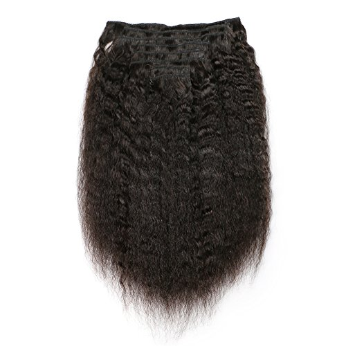 (KeLang Hair Kinky Straight Clip In Human Hair Extensions Clip Ins Human Hair 7A Italian Coarse Yaki Brazilian Virgin Hair Clip In Extension 14inch 8pcs/lot,120gram/set)
