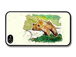 Accessories Bear Resting on a Trunk Tree Wildlife Animal Watercolour Art For Apple Iphone 5/5S Case Cover