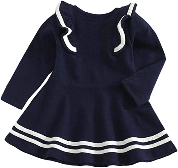 Baby Toddler Girls Fall Winter Dress Clothes Kids Long Sleeve Solid Stripe Ruffles Princess Dress 1-6 Years Old