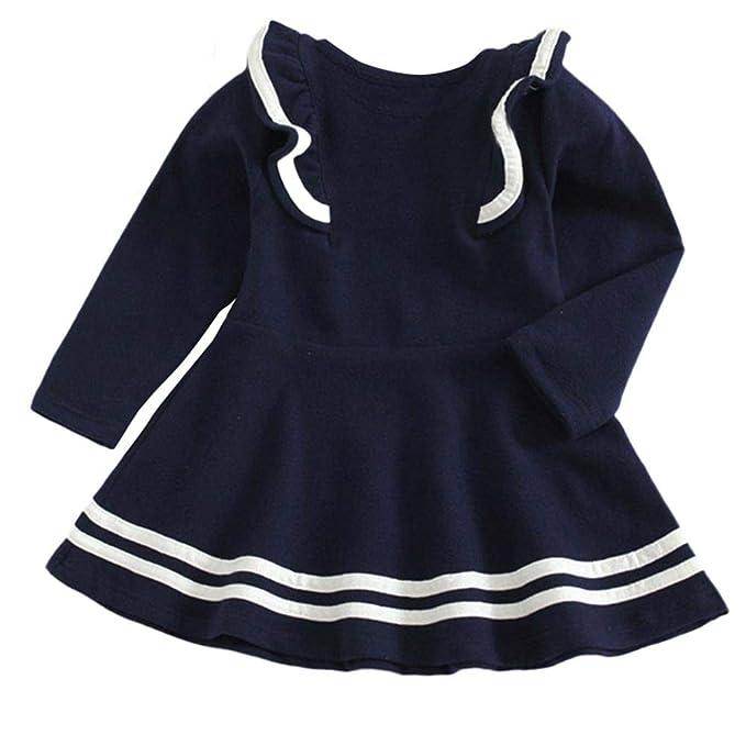 86f909fe7 K-youth Ropa para Niña de Frio Vestido de Niña Raya Encaje de Hoja de Loto  Vestido Bautizo Bebé Niñas Vestido de Manga Larga Vestidos de Fiesta para  niñas ...