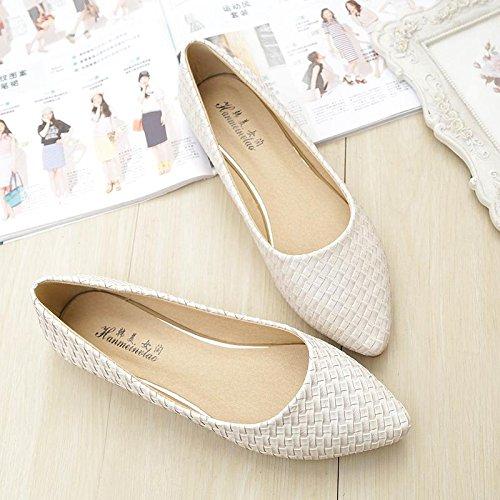 &qq Zapatos planos con punta, planos con zapatos de botas, zapatos de moda de gran tamaño 39