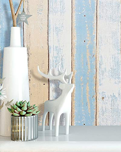 16.4'x1.5' Wood Wallpaper Self Adhesive Wood Contact Paper Wood Peel and Stick Wallpaper Wood Grain Contact Paper Decorative Reclaimed Rustic Distressed Wood Wallpaper Removable Wallpaper Roll Vinyl ()