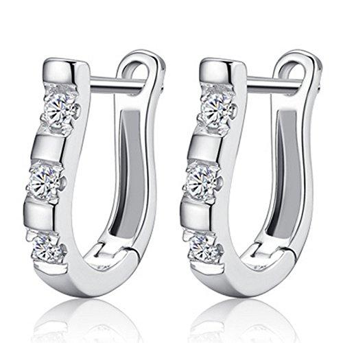 Hosaire Huggie Earrings Zircon Earrings Silver Plated Cubic Zirconia Stud Earrings for Womens Jewelry