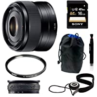 Sony SEL35F18 35mm f/1.8 Prime Fixed Lens + 16GB Class 10 Memory Card + 49mm UV Protector + Lens Cap Keeper + Stop Zoom Creep for One Size Fits All Lens + Accessory Kit