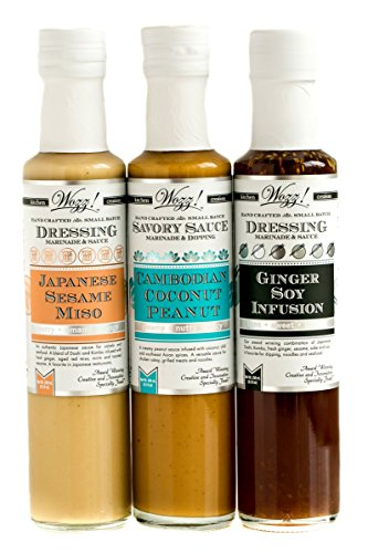 Wozz Kitchen Creations Asian Sauces Collection Set of 3 (each 8.5 Fl.Oz) - Ginger Soy Infusion, Japanese Sesame Miso, Cambodian Coconut Peanut Sauce - All Natural - Non GMO - Ginger Infusion