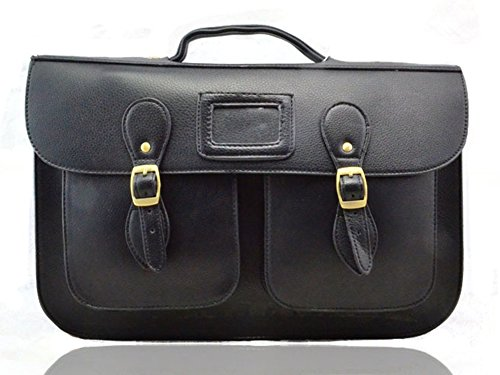 Ladies Girls Large Medium Vintage Work Briefcase School Satchel Shoulder Bag (BLACK)