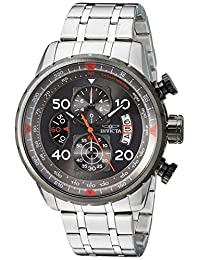 Invicta Men's 17204 Aviator Analog Display Japanese Quartz Silver Watch