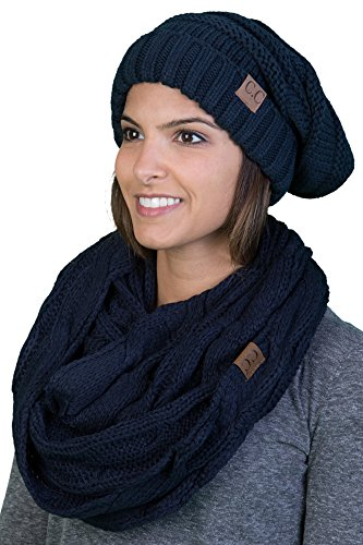 Navy Blue Slouch Hat - bHS-6100-31 Oversized Beanie Scarf Bundle - Navy (Solid)