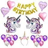 TOYMYTOY 26Pcs Happy Birthday Unicorn Balloons Banner Kit Foil Latex Balloons and Pom Poms Party Supplies