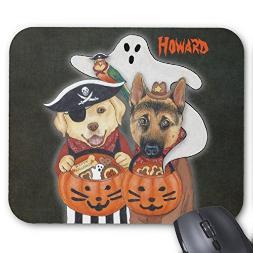 UOOPOO Halloween Lab, Shepherd, And Parrot In Costumes Mouse Pad Rectangle Non-Slip Rubber Personalized Mousepad Gaming Mouse Pads 8.2 x 10.2 x 0.12 Inch(Pattern: Print) ()