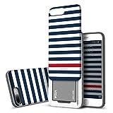 iPhone 8 PLUS / iPhone 7 PLUS Case DesignSkin [Slider] Upgraded Best Seller Card Slot Shock Absorption Shockproof 3-Layer Protective Cover Holder Wallet Case Heavy Duty Bumper (Blue Stripe)