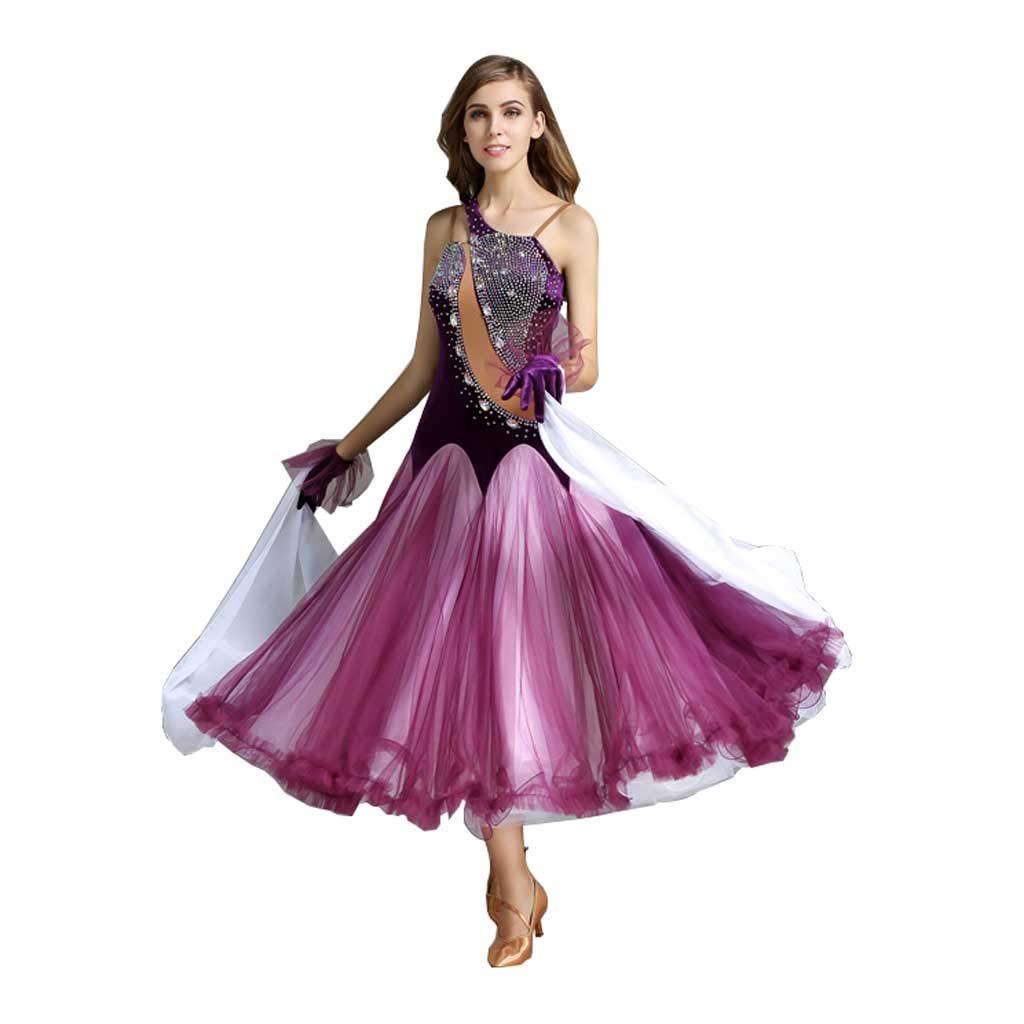 現代ダンススカートコスチューム、アダルトレディースビッグスイングスカート競争スーツ B07HQ5V1TP L l|パープル パープル L l
