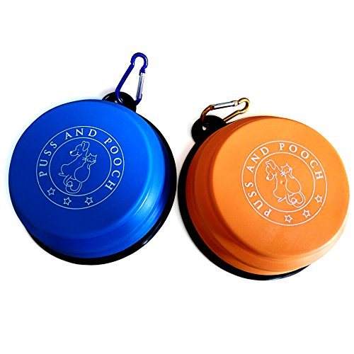 Puss and Pooch Collapsible Dog Bowl - Collapsible Dog Bowls |Safe Materials & Eco-Friendly | 100% Lead Free | BPA Free & FDA Approved | Collapsible Dog Bowl Set w/Free Carabiner | Durable & Reusable