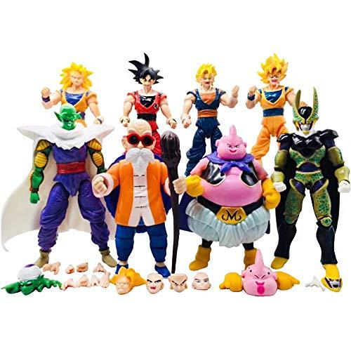 L'OGA New Set of Toys! Dragon Ball 8pcs/Set DBZ Toys Anime Son Gokū Vegeta Piccolo Djinn-Boo Kakarotto Superhero Action Figure Ideal Gift (Dragon Ball Z Toys Goku)
