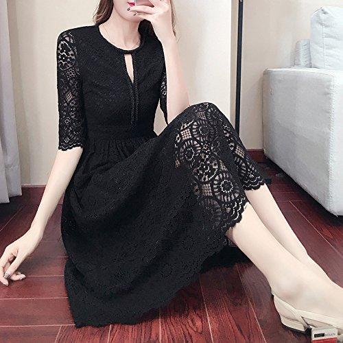 Otoño Negro Encaje Falda Negro M Vestido L Rodilla De Femenina De Vestido Spot Vestido Invierno Encaje Largo ZHUDJ F8wdzfqf