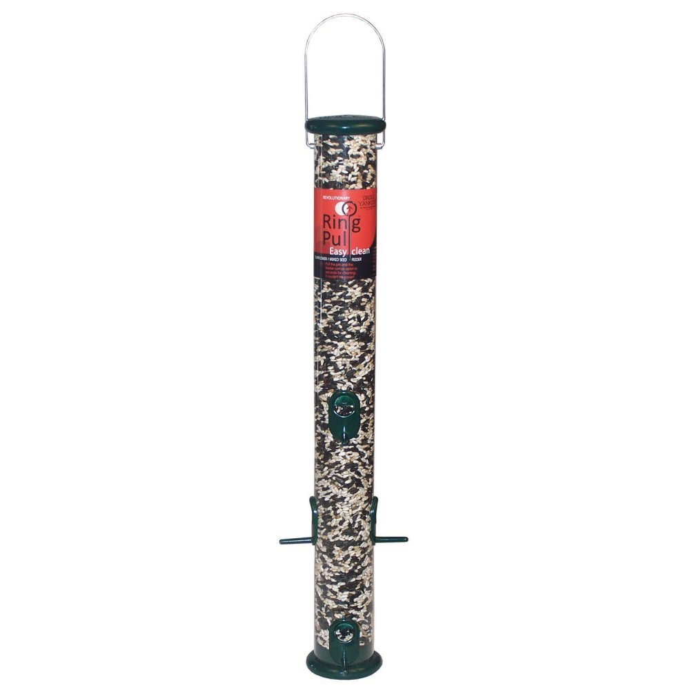 Ring Pull Tube Seed Feeder 23 in Forest Green by Droll Yankees