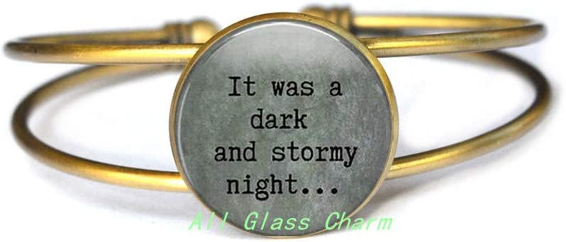 Writer Gift Book Lover Gift It was a Dark and Stormy Night Literary Quote Bracelet Bracelets,AS072 Charming Bracelet,Bracelet Bracelets Literary Quote