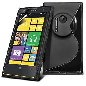 (Negro) Nokia Lumia 1020 Protección línea de fundas de silicona Onda piel cubierta retráctil Capacative Pantalla Táctil Lápiz Óptico y pantalla LCD Protector de Fone-Case