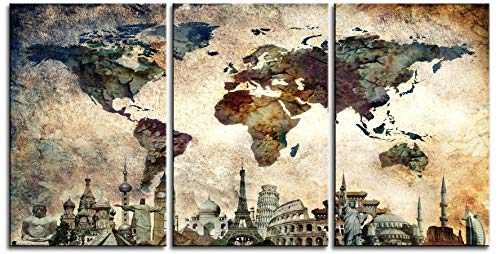 """Original by BoxColors LARGE 30""""x 60"""" 3 panels 30x20 Ea Art Canvas Print Map World Wonders Old paper texture wall home decor (framed 1.5"""" depth) M1844 2"""