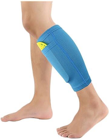 Calcetines protectores de fútbol con bolsillos para espinilleras de Leezo, ideales para correr, hacer