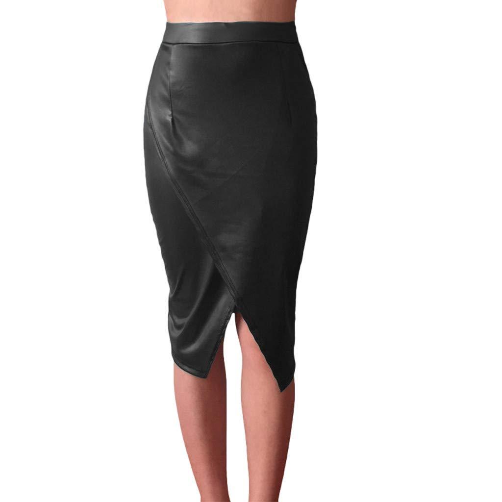 Women Leather TPU Skirt - High Waist Pencil Skirt