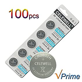 CELEWELL 100 Pack CR2032 3V Lithium Battery 230mAh Exp 2020 CR 2032 Coin Cell Bulk