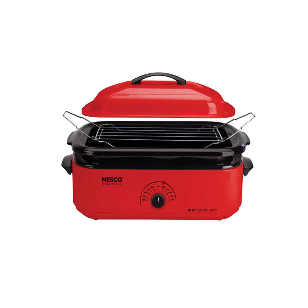 Nesco 4818-12 Classic Roaster Oven with Porcelain Cookwell, 18-Quart, Red