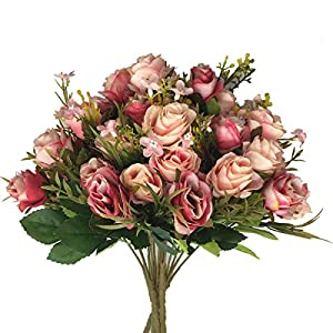 CATTREE Artificial Flowers, Budding Fake Flowers Bouquet 5 Branch 10 Heads Silk Roses Bridal Home Garden Office Dining Table Wedding Decor (Deep Pink Champagne) 4 pcs