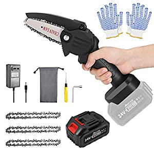 ABEDOE Mini Chainsaw Cordless Set 4-Inch 3000mAh 24V Max Electric Rechargeable Protable Chainsaw with a Safety Splash…