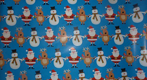 Trim A Home Festive Christmas Wrapping Paper 12 YD x 2.5 FT. 90 SQ FT. 1 Roll Christmas Blue Paper Santa, Snowman, & Reindeer Holding Candy Cane Wrapping Paper (Candy Cane Purple)