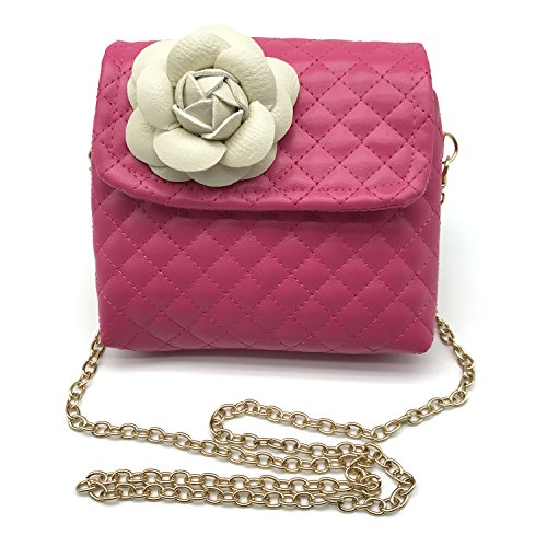 Elesa Miracle Kids Quilted Leather Crossbody Handbag Purse, Little Girl Metal Chain Strap Bag (Hot Pink with White Flower), One Size