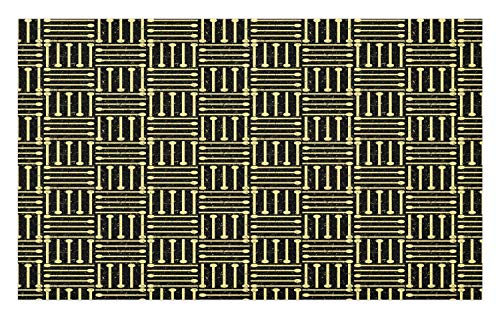 Lunarable Art Deco Doormat, Repetitive Grungy Geometric Vintage 1920's Inspired Design, Decorative Polyester Floor Mat with Non-Skid Backing, 30 W X 18 L Inches, Pale Yellow and Charcoal Grey]()