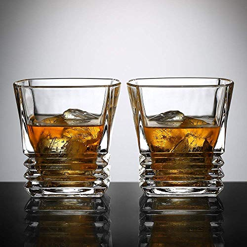 Ecooe Old Fashion Whiskey Scotch Glasses Tumblers for Scotch, Bourbon and More, 2x300mL (Type 2-2 pieces)