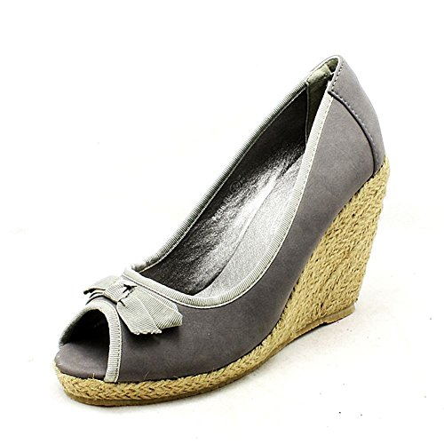 Gericht Schuhe Grau Toe Damen Canvas Peep Wedge ZWOnqA0v