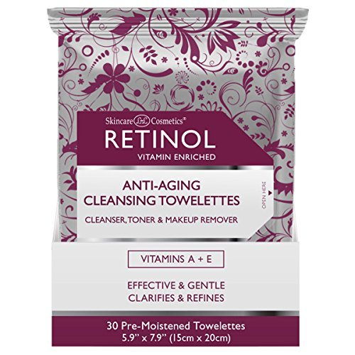 Retinol Anti-Aging Cleansing Towelettes  All-in-One Cleanser, Toner & Makeup Remover in a Convenient Pre-Moistened Wipe  On-The-Go Exfoliating, Toning & Hydrating Leaves Skin Clean, Fresh & Refined
