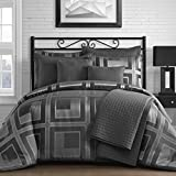 King & Queen Home Modern Square Pattern 8 Piece Comforter and Coverlet Set (Queen, Gray)