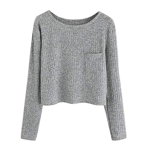 HGWXX7 Women Tops Long Sleeve Casual O-Neck Pocket Soft Blouse Shirt Sweatshirt(S,Gray)