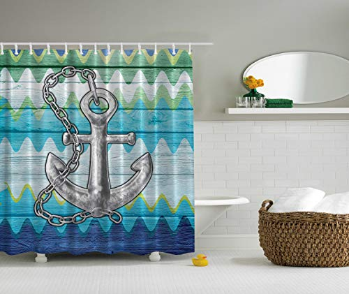 Ambesonne Anchor Shower Curtain, Nautical Themed Anchor with Chains Motif on Colorful Chevron Zigzags Background, Cloth Fabric Bathroom Decor Set with Hooks, 70