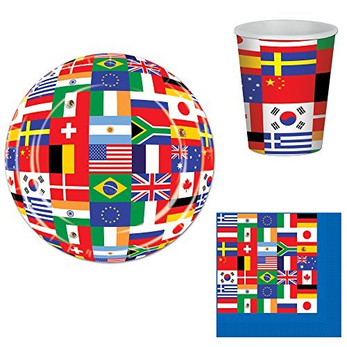 International Flags Party Bundle for 16: Plates, Napkins, and -