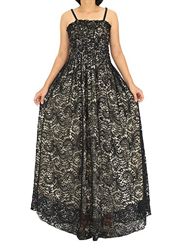 Plus Size Informal Wedding Dress (The WomenLand Women Plus Size Maxi Long Dress Party Summer Holiday Beach Boho Strapy Dresses (1X, Black With Beige Lining))