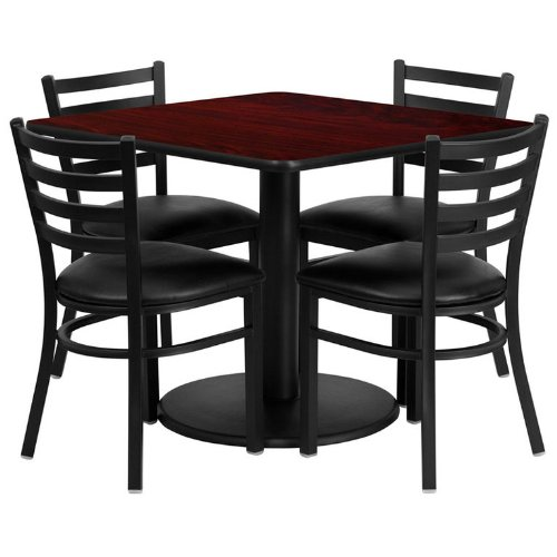 Flash Furniture 36'' Square Mahogany Laminate Table Set with 4 Ladder Back Metal Chairs - Black Vinyl - 36' Pub Set