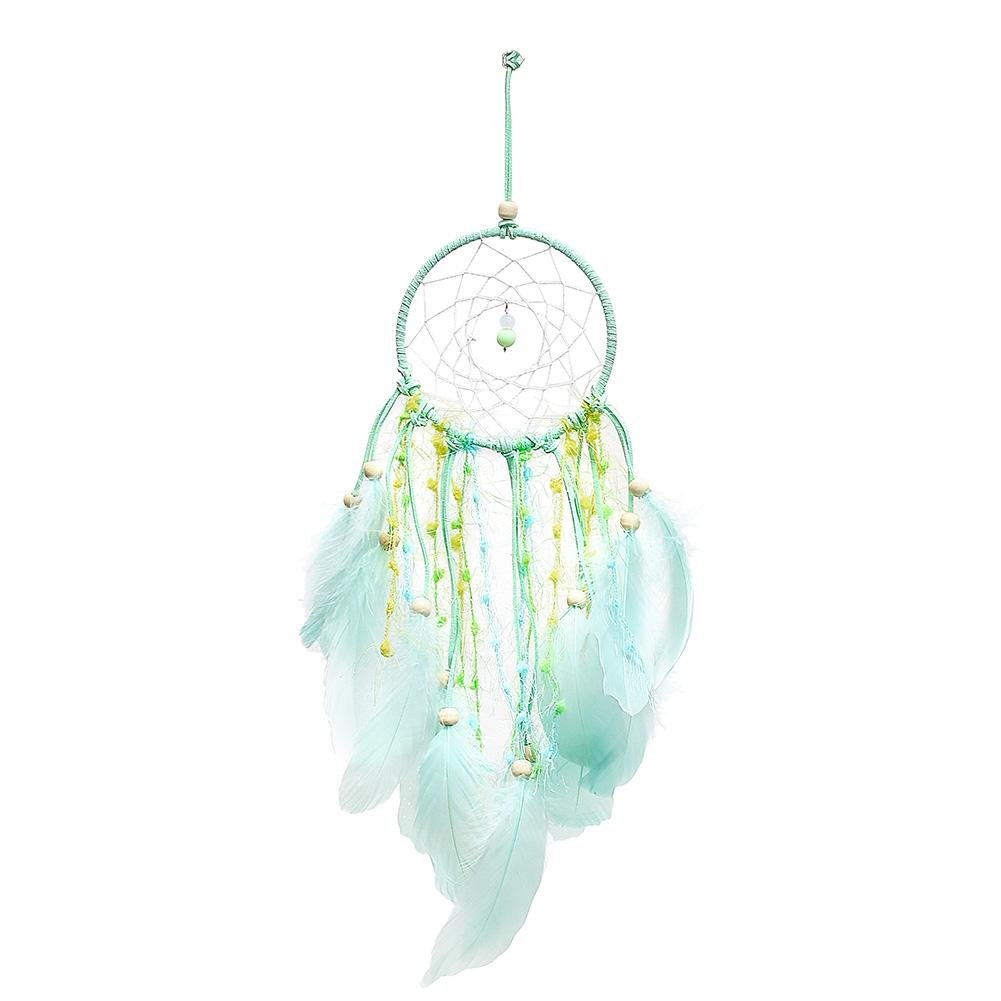 Demiawaking Handmade Mint Green Dream Catcher Wall Hanging with Beads and Feathers Car Window Garden Hanging Accessories Ornaments Girls Bedroom Home Decor DemiawakingUK