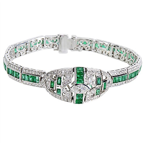 BRAND NEW Diamond & Emerald Bracelet in 18K White Gold (8.53 CTW) by Loved Luxuries
