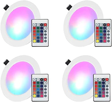 LED Panel Light Dimmable RGB Muti-Color Changing Ceiling Light Recessed Lamp
