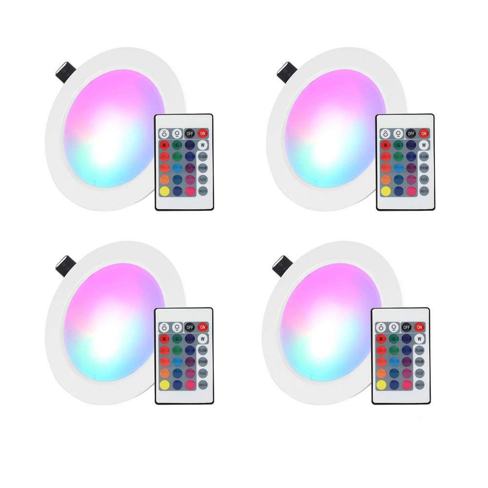 LED Recessed Lighting, 4 inch 10W RGB Recessed Light Color Changing w/Remote Control LED Ceiling Panel Light 4 Pack