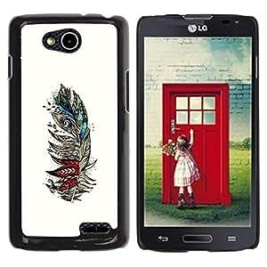 YiPhone /// Prima de resorte delgada de la cubierta del caso de Shell Armor - Feather White Birds Artistic Teal Red - LG OPTIMUS L90 / D415