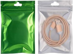 100Pcs Aluminum Foil Mylar Bags Matte Translucent Clear Front Plastic Ziplock Bags with Hang Hole Tear Notch Zipper Pouch Food Saver Bag Long Term Food Storage Packaging 3.9x7in (10x18cm)